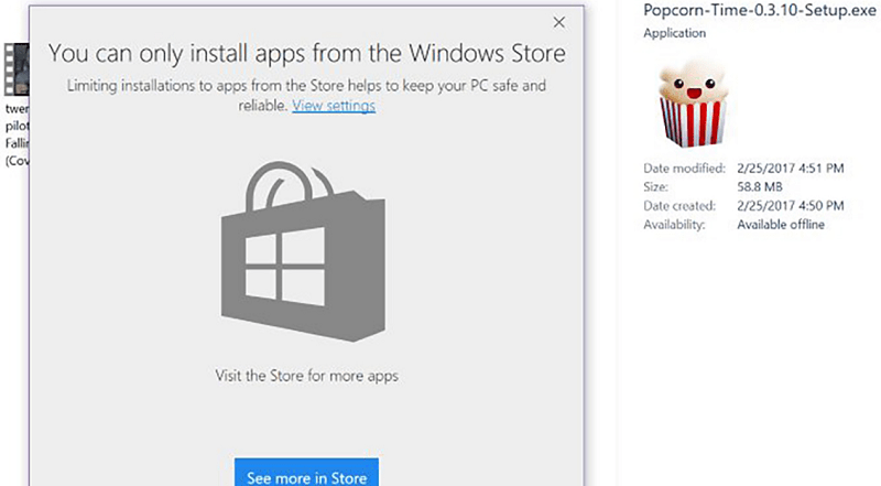 you can only install apps from the windows store message